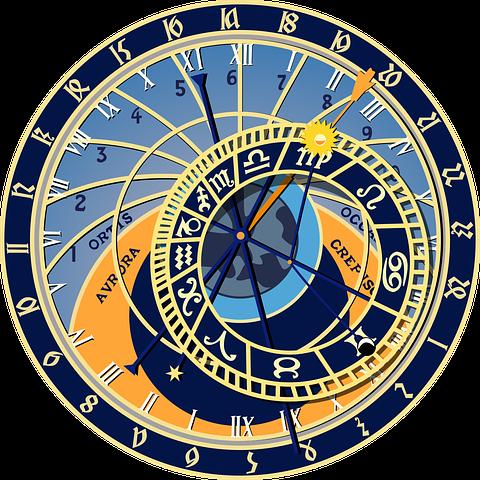 Astrologische Symbole auf einer astrologischen Uhr